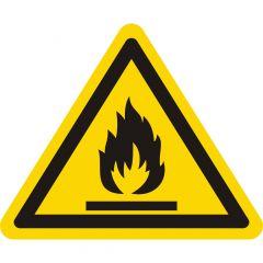 Warnung feuergefährliche Stoffe, Warnzeichen W021, ASR A1.3, Vinyl, gelb-schwarz, Seitenlänge: 100 mm