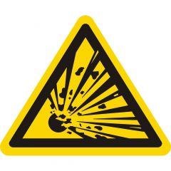 Warnung explosionsgefährliche Stoffe, Warnzeichen W002, ASR A1.3, Vinyl, gelb-schwarz, Seitenlänge: 25 mm