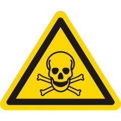Warnung giftige Stoffe, Warnzeichen W016, ASR A1.3, Vinyl, gelb-schwarz, Seitenlänge: 25 mm