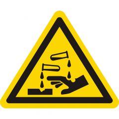 Warnung ätzende Stoffe, Warnzeichen W023, ASR A1.3, Vinyl, gelb-schwarz, Seitenlänge: 25 mm