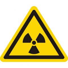 Achtung! Radioaktive Stoffe!, Warnzeichen W003, ASR A1.3, Vinyl, gelb-schwarz, Seitenlänge: 50 mm