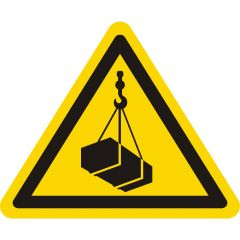Warnung schwebende Last, Warnzeichen W015, ASR A1.3, Vinyl, gelb-schwarz, Seitenlänge: 50 mm