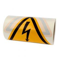 Warnung gefährliche elektrische Spannung, Warnzeichen W012, ASR A1.3, Vinyl, gelb-schwarz, Seitenlänge: 200 mm