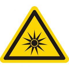 Warnung optische Strahlung, Warnzeichen W027, ASR A1.3, Vinyl, gelb-schwarz, Seitenlänge: 25 mm