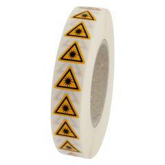 Warnung Laserstrahl, Warnzeichen W004, ASR A1.3, Vinyl, gelb-schwarz, Seitenlänge: 25 mm
