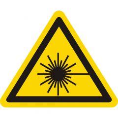 Warnung Laserstrahl, Warnzeichen W004, ASR A1.3, Vinyl, gelb-schwarz, Seitenlänge: 50 mm