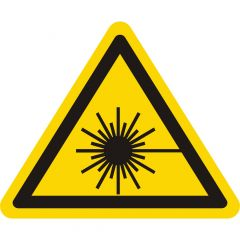 Warnung Laserstrahl, Warnzeichen W004, ASR A1.3, Vinyl, gelb-schwarz, Seitenlänge: 100 mm