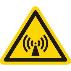 Warnung elektromagnetisches Feld, Warnzeichen W005, ASR A1.3, Vinyl, gelb-schwarz, Seitenlänge: 50 mm