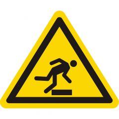 Warnung Stolpergefahr, Warnzeichen W007, ASR A1.3, Vinyl, gelb-schwarz, Seitenlänge: 50 mm