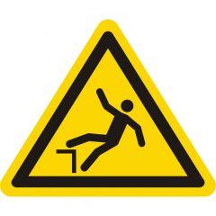 Warnung Absturzgefahr, Warnzeichen W008, ASR A1.3, Vinyl, gelb-schwarz, Seitenlänge: 100 mm