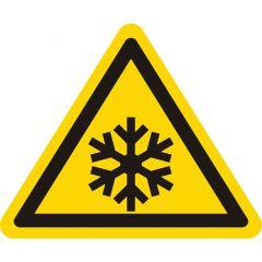 Warnung Kälte, Warnzeichen W010, ASR A1.3, Vinyl, gelb-schwarz, Seitenlänge: 25 mm