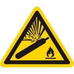 Warnung vor Gasflaschen, Warnzeichen W029, ASR A1.3, Vinyl, gelb-schwarz, Seitenlänge: 50 mm