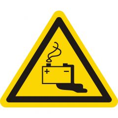 Warnung Gefahren durch Batterien, Warnzeichen W026, ASR A1.3, Vinyl, gelb-schwarz, Seitenlänge: 100 mm