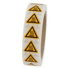 Warnung heiße Oberfläche, Warnzeichen W017, ASR A1.3, Polyimid, gelb-schwarz, Seitenlänge: 25 mm