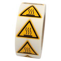 Warnung heiße Oberfläche, Warnzeichen W017, ASR A1.3, Vinyl, gelb-schwarz, Seitenlänge: 50 mm
