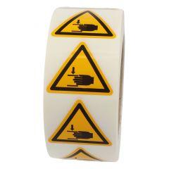 Warnung Handverletzungen, Warnzeichen W024, ASR A1.3, Vinyl, gelb-schwarz, Seitenlänge: 50 mm