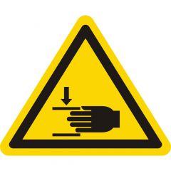 Warnung Handverletzungen, Warnzeichen W024, ASR A1.3, Vinyl, gelb-schwarz, Seitenlänge: 100 mm