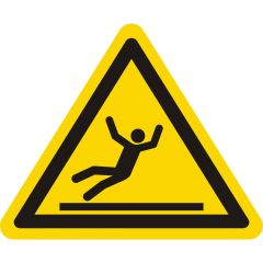 Warnung Rutschgefahr, Warnzeichen W011, ASR A1.3, Vinyl, gelb-schwarz, Seitenlänge: 100 mm