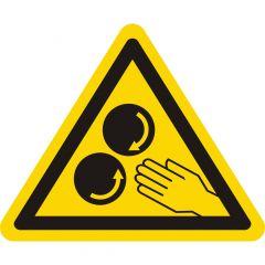 Warnung laufende Walzen, Warnzeichen, Vinyl, gelb-schwarz, Seitenlänge: 50 mm