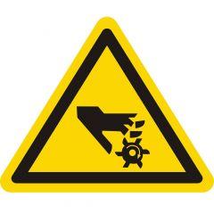 Warnung rotierendes Werkzeug, Warnzeichen, Vinyl, gelb-schwarz, Seitenlänge: 50 mm