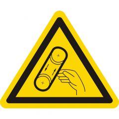 Warnung Bandeinzug, Warnzeichen, Vinyl, gelb-schwarz, Seitenlänge: 25 mm