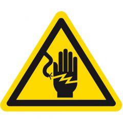 Warnung gefährliche elektrische Spannung, Warnzeichen, Vinyl, gelb-schwarz, Seitenlänge: 25 mm