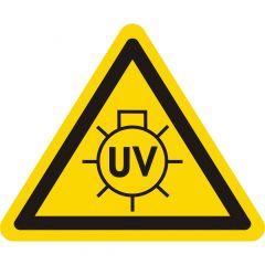 Warnung UV-Strahlen, Warnzeichen, Vinyl, gelb-schwarz, Seitenlänge: 25 mm
