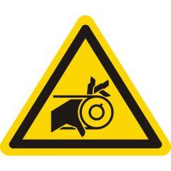 Warnung Handverletzung durch Riemenantrieb, Warnzeichen, Vinyl, gelb-schwarz, Seitenlänge: 50 mm