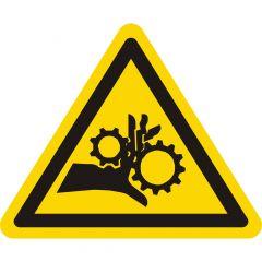 Warnung Handverletzung bei Zahnradantrieb, Warnzeichen, Vinyl, gelb-schwarz, Seitenlänge: 50 mm