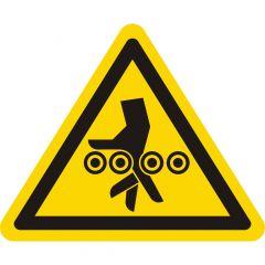 Warnung Handverletzung bei Einzugsgefahr durch Walzen, Warnzeichen, Vinyl, gelb-schwarz, Seitenlänge: 50 mm