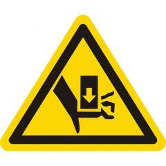 Niemals in den Quetschgefahrenbereich greifen, solange sich dort Teile bewegen, Warnzeichen, Vinyl, gelb-schwarz, Seitenlänge: 50 mm