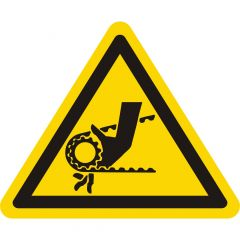 Warnung Handverletzungen, Warnzeichen, Vinyl, gelb-schwarz, Seitenlänge: 25 mm
