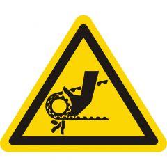 Warnung Handverletzungen, Warnzeichen, Vinyl, gelb-schwarz, Seitenlänge: 50 mm