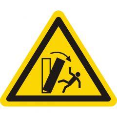 Warnung Kippgefahr, Warnzeichen, Vinyl, gelb-schwarz, Seitenlänge: 50 mm