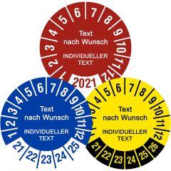 Individuelle Prüfplaketten - Bestimmen Sie Text, Material, Größe, Farbe und Layout
