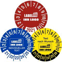 Individuelle Prüfplaketten - Bestimmen Sie Text, Logo, Material, Größe, Farbe und Layout
