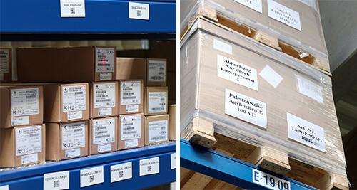 Logistik Etiketten für kurze Lagerung und Paletten