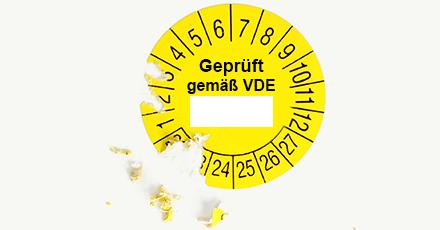 VDE Mehrjahresprüfplakette selbstzerstörend