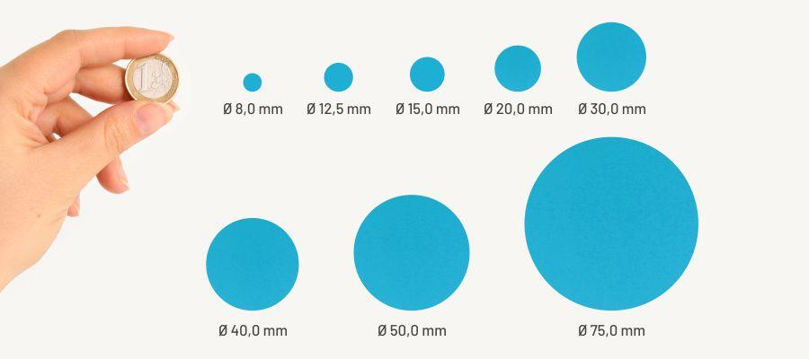 Markierungspunkte von Labelident im Größenvergleich