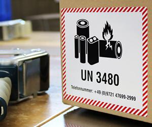 Transportaufkleber für Lithium Batterien