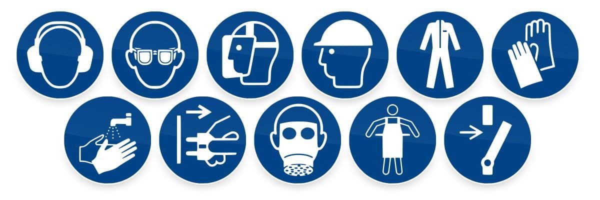 Gebotszeichen / Gebotsschilder, nach ISO7010, Auswahl